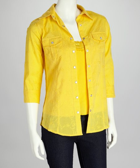 Yellow Lace Camisole & Eyelet Button-Up