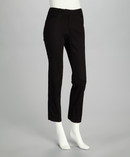 Jet Black Straight-Leg Pants