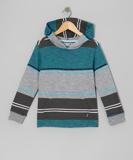 Turquoise Stripe Knit Hoodie - Toddler & Boys