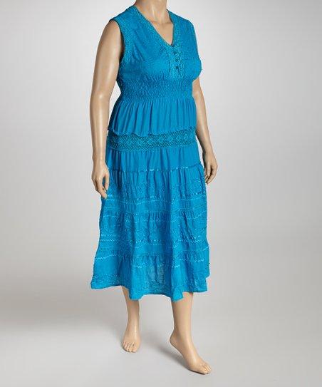 Turquoise V-Neck Dress - Plus