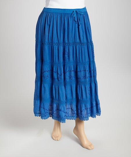 Blue Peasant Skirt - Plus