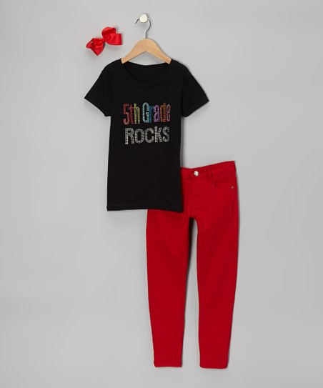 Black '5th Grade Rocks' Short-Sleeve Tee Set - Girls
