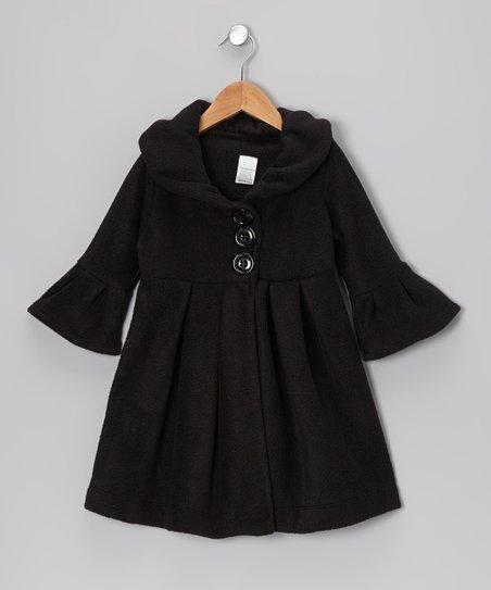 Black Swing Coat - Toddler & Girls