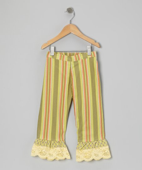 Green Stripe Ruffle Pants - Infant, Toddler & Girls