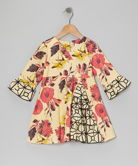 Cream Floral Vintage Ruffle Dress - Toddler & Girls