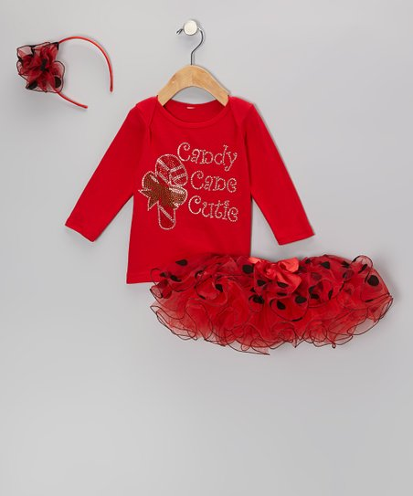 Red 'Candy Cane Cutie' Tee Set - Infant, Toddler & Girls