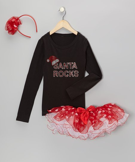 Black 'Santa Rocks' Tee Set - Infant, Toddler & Girls