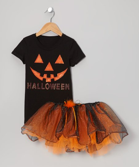 Black 'Halloween' Jack-O'-Lantern Tee & Tutu - Toddler & Girls