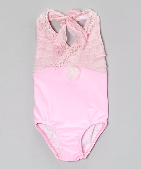 Baby Pink Ruffle Halter One-Piece - Toddler & Girls
