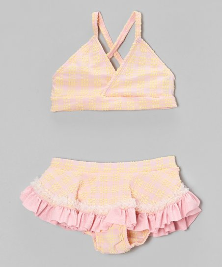 Yellow & Pink Plaid Skirted Bikini - Infant, Toddler & Girls