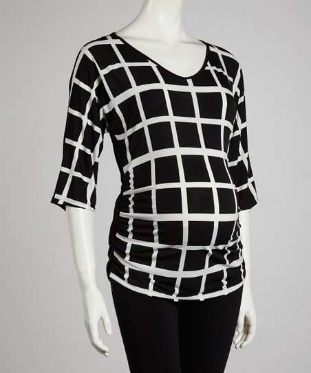 Black & White Lattice Maternity Three-Quarter Sleeve Top - Women