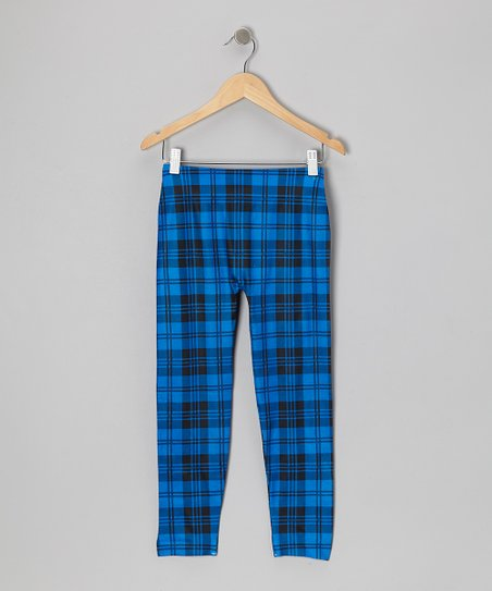 Royal Blue Plaid Leggings - Girls