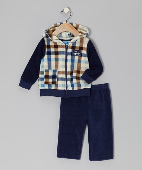 Navy Plaid Fleece Jacket & Pants - Infant