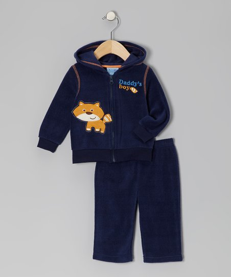 Navy 'Daddy's Boy' Fleece Jacket & Pants - Infant