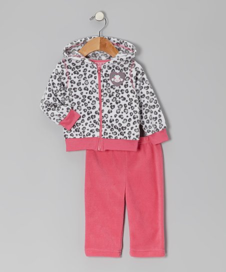 Hot Pink Leopard Fleece Jacket & Pants - Infant