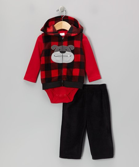 Red Dog Fleece Vest Set - Infant
