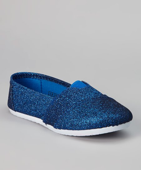 Royal Blue & White Shimmer Slip-On Sneaker