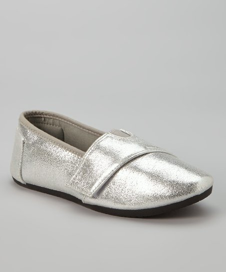 Silver Metallic Slip-On Sneaker