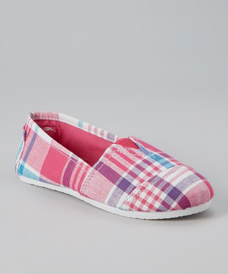 Fuchsia Plaid Slip-On Sneaker