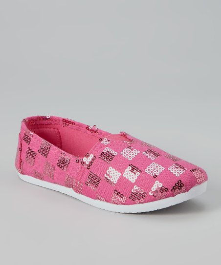 Pink Checkerboard Sequin Slip-On Sneaker