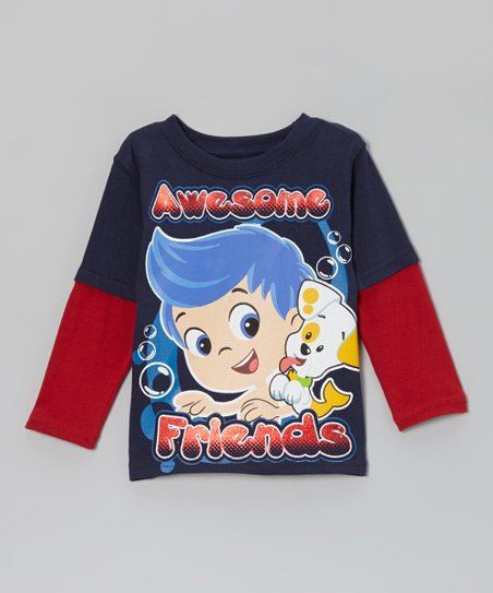 Red & Navy 'Awesome' Guppies Layered Tee - Toddler