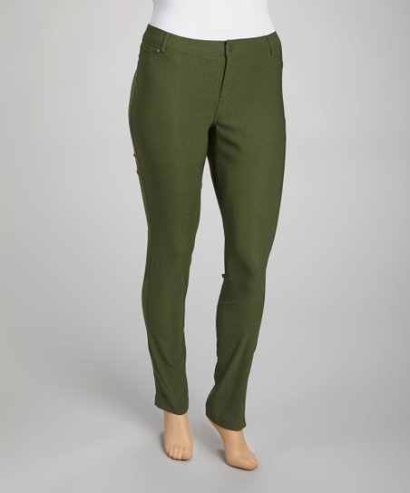 Rifle Green Millennium Straight-Leg Pants - Plus