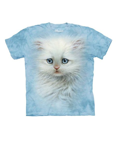 Light Blue Fluffy White Kitten Tee - Toddler, Kids & Adult