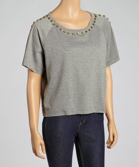 Gray Studded Short-Sleeve Top