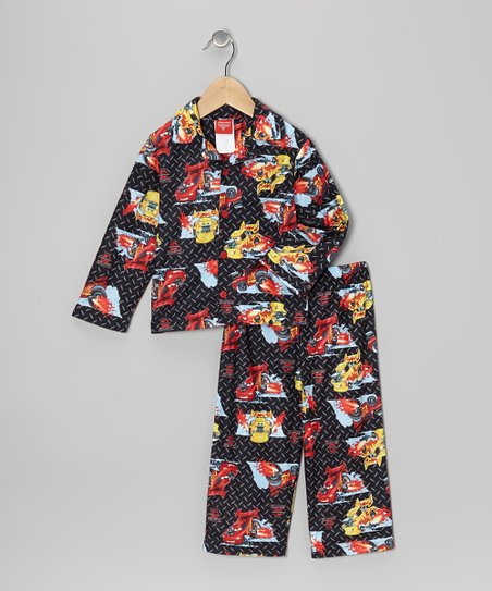 Black & Red Cars Button-Up Pajama Set - Toddler