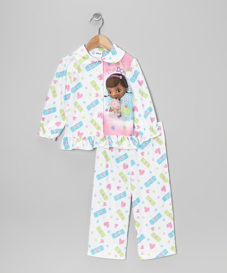 White Doc McStuffins Button-Up Pajama Set - Toddler