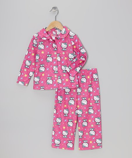 Pink Hello Kitty Stars Button-Up Pajama Set - Girls