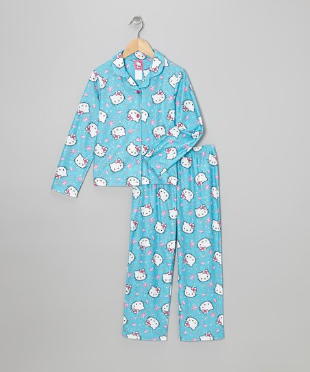 Blue Hello Kitty Stars Button-Up Pajama Set - Girls