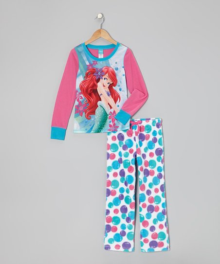 Pink & Blue Ariel Bubbles Pajama Set - Girls