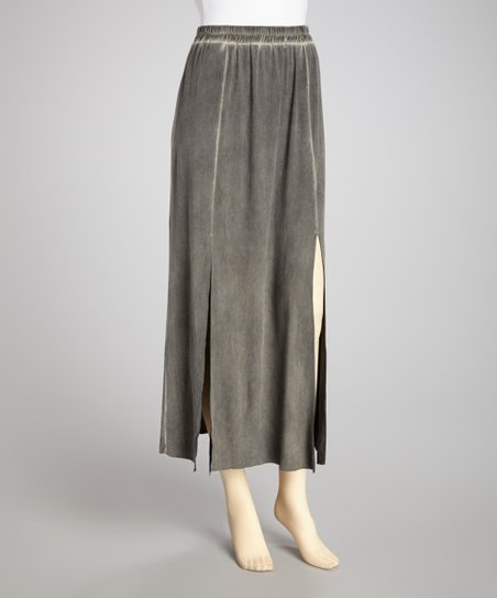 Gray Double Slit Maxi Skirt