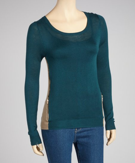 Teal & Mocha Zipper Scoop Neck Sweater