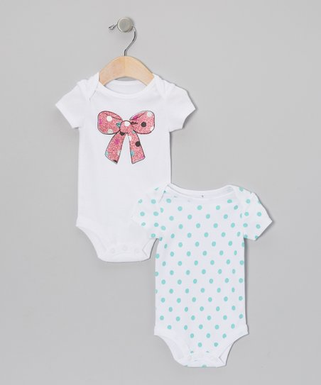 White & Pink Glitter Bow & Polka Dot Bodysuit Set - Infant