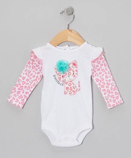 Pink 'Purrfect!' Leopard Layered Bodysuit - Infant