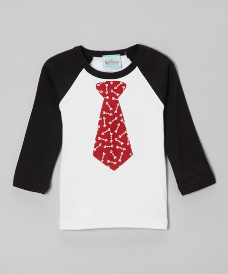 Black & Red Tie Raglan Tee - Infant, Toddler & Boys