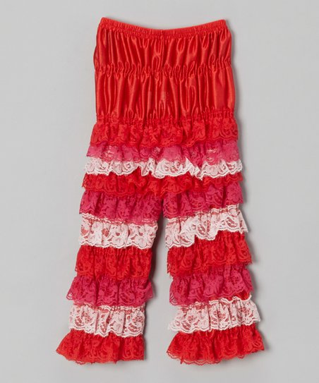 Red & Pink Lace Ruffle Pants - Infant, Toddler & Girls