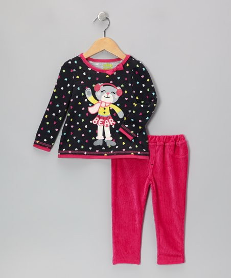 Black Polka Dot Winter Bear Tee & Pink Pants - Infant & Toddler