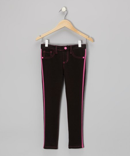 Black & Pink Contrast Stitch Jeggings