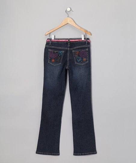 Dark Stone Wash Embroidered Bootcut Jeans
