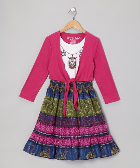 Berry Owl Layered Dress