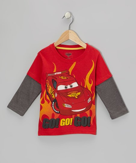 Red Cars 'Go! Go!' Layered Tee - Toddler