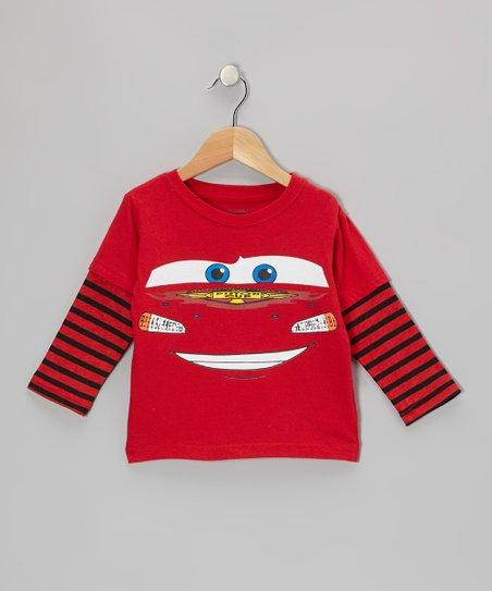 Red Stripe Cars Layered Tee - Toddler