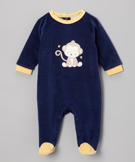 Blue & Yellow Monkey Velour Footie - Infant