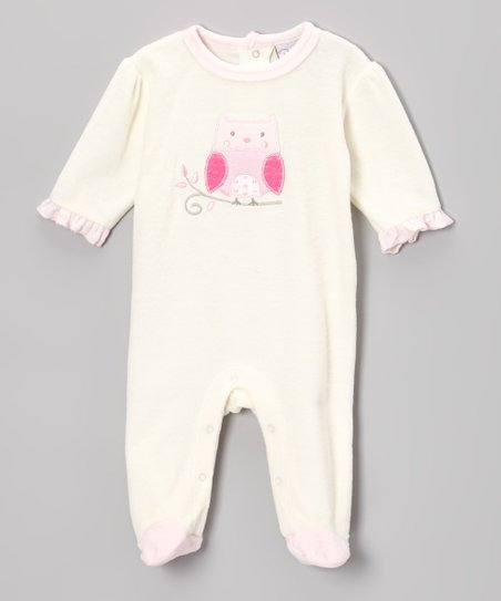 Cream Owl Velour Footie - Infant