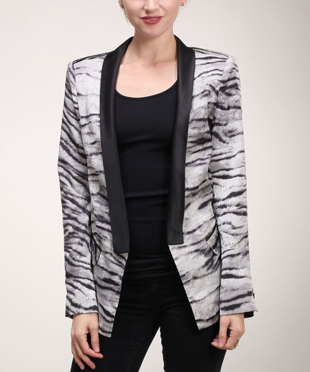 Gray & Black Zebra Blazer