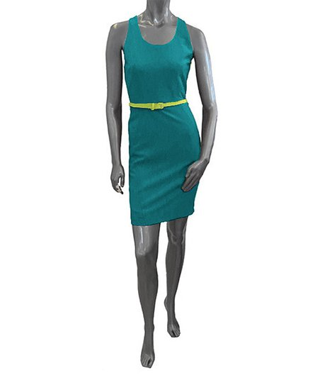 Teal Belted Racerback Dress