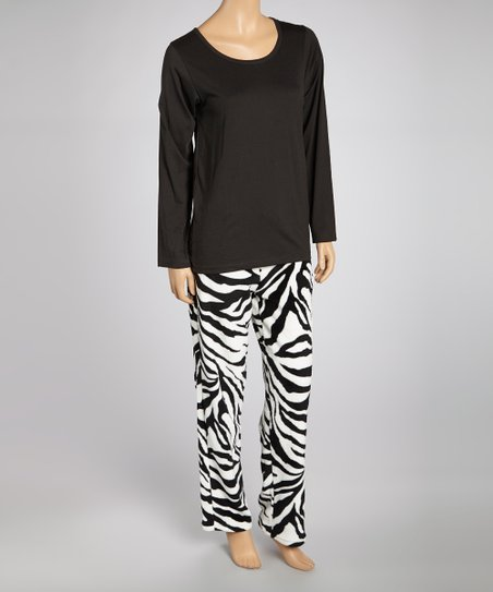 Black Zebra Knit Pajama Set - Women